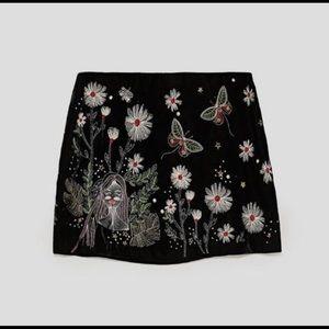 Zara velvet embroidered skirt NWOT